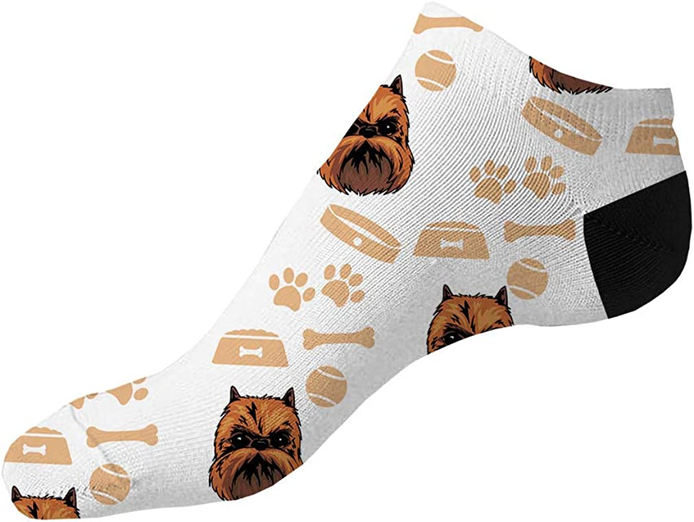 Griffon Bruxellois Dog Pattern #3 Men-Women Adult Ankle Socks Novelty Socks