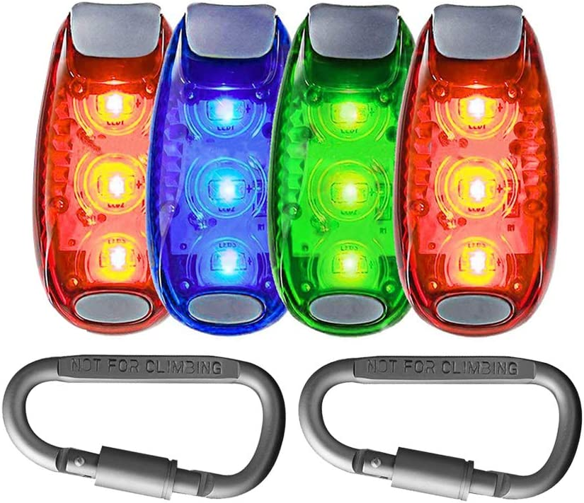 Seakcoik 4-Pack LED Safety Light Strobe Lights for Running Walking Bicycle Dog Pet Runner, Best Flashing Warning Clip on Small Reflective Set Flash Walk Night High Visibility Free Bonuses