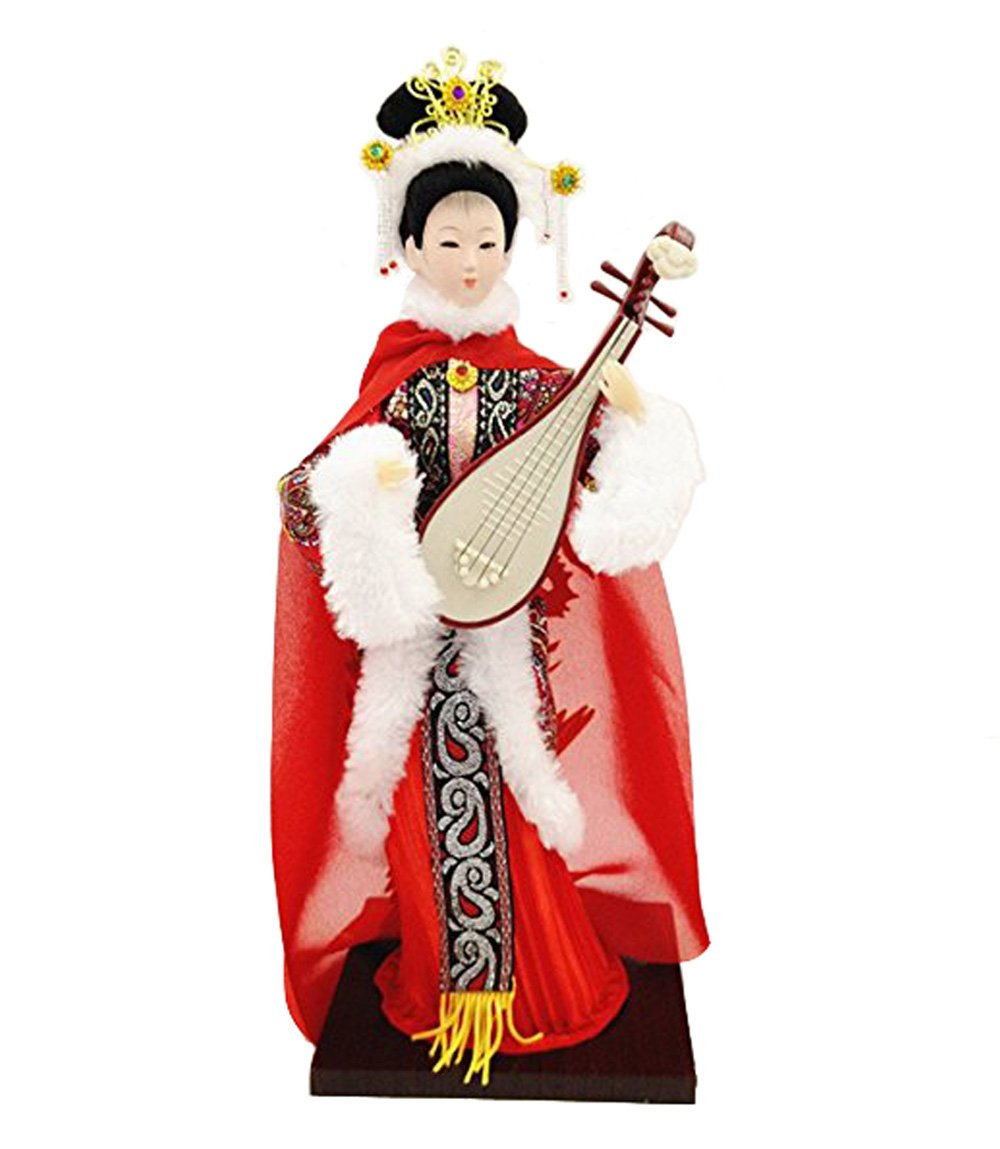 Sunkey 12'' Traditional Chinese Art Silk Figurine Doll Statue-Wang Zhao Jun by Sunkey