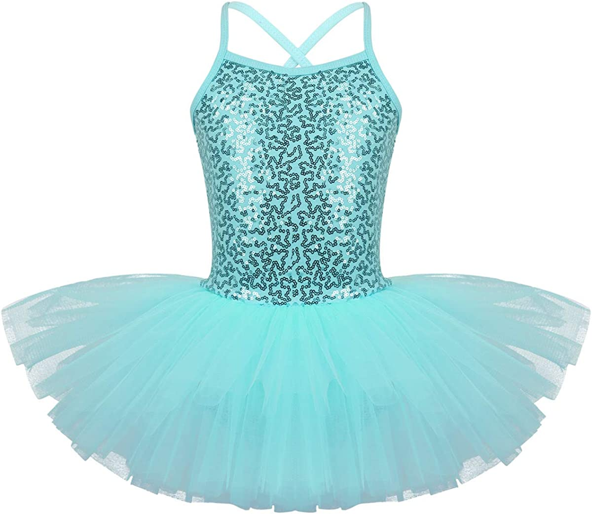 Nimiya Children Girls Two Piece Sequins Ballet Dance Gymnastic Outfits Tankini Set Criss Cross Back Top Tanks with Bottoms