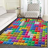 Video Games Area Silky Smooth Rugs Colorful Retro Gaming Computer Brick Blocks Image Puzzle Digital 90s Play Floor Mat Pattern 3'x5' Multicolor