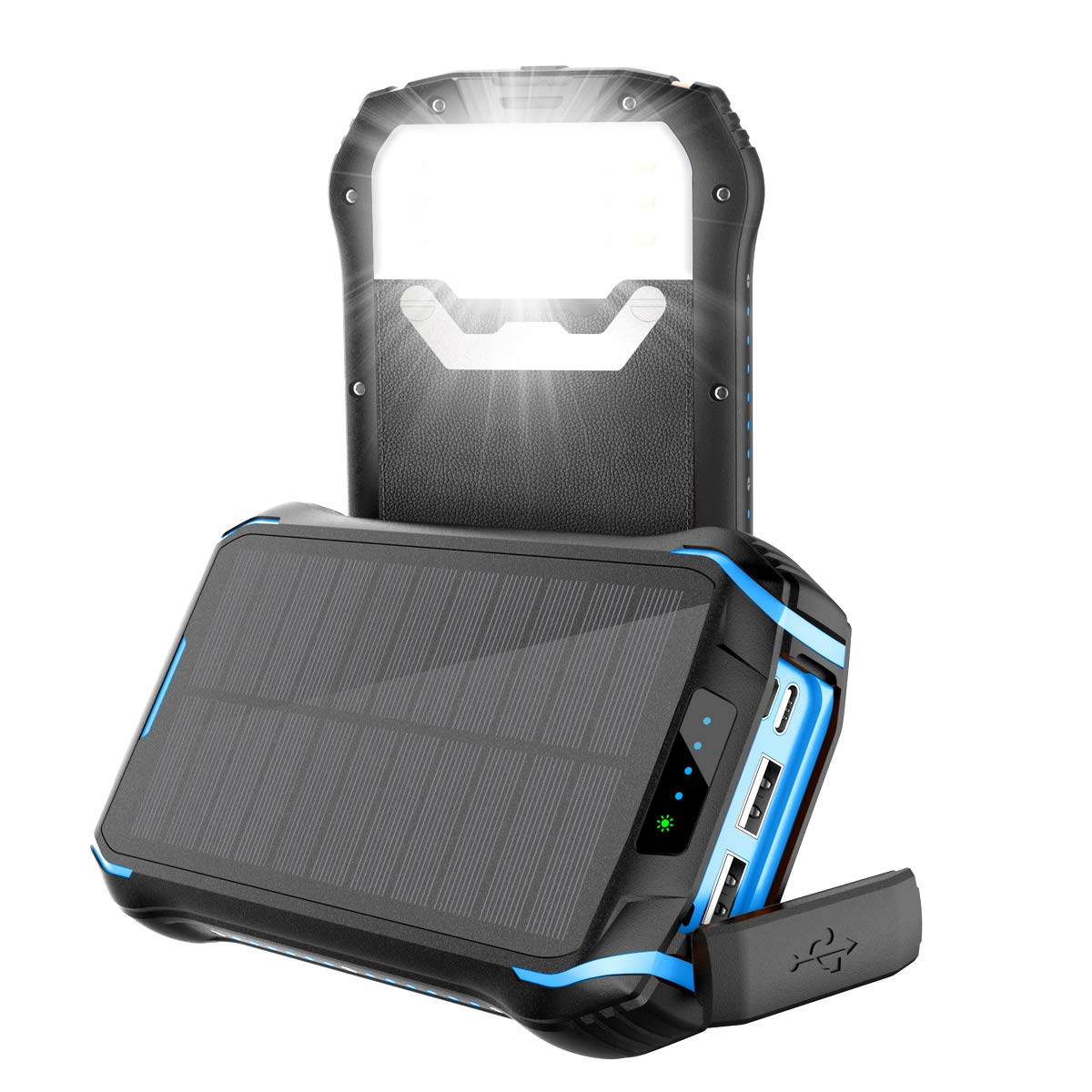 Aonidi Solar Charger 26800mAh Power Bank Portable Charger Battery Pack with 3 Outputs & 2 Inputs(Micro USB & Type-C) High Capacity Backup Battery Compatible Smartphone,Tablet and More by aonidi
