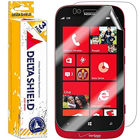 Nokia Lumia 822 Screen Protector [3-Pack], DeltaShield BodyArmor Full Coverage Back + Front Screen Protector for Nokia Lumia 822 Military-Grade Clear HD Anti-Bubble (Nokia Lumia 822 Jelly Case)