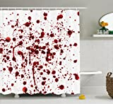 Bloody Shower Curtain Set by Ambesonne, Splashes of Blood Grunge Style Bloodstain Horror Scary Zombie Halloween Themed Print, Fabric Bathroom Decor with Hooks, 75 Inches Long, Red White