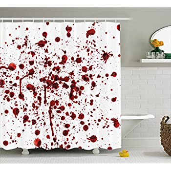 Ambesonne Bloody Shower Curtain Set Splashes Of Blood Grunge Style Bloodstain Horror Scary Zombie Halloween Themed Print Fabric Bathroom Decor With Hooks