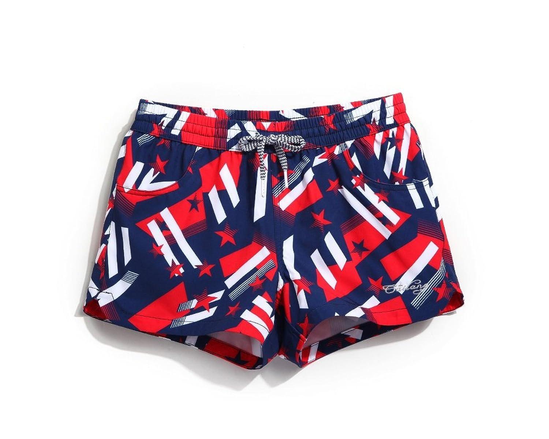 Lantra Besa Blau-Rot-Weiß Wasserabweisende Schnelltrocknende Damen Frauen Badehose Badeshorts Boardshorts Mini Shorts für Wassersport und Freizeit im Sommer - XL