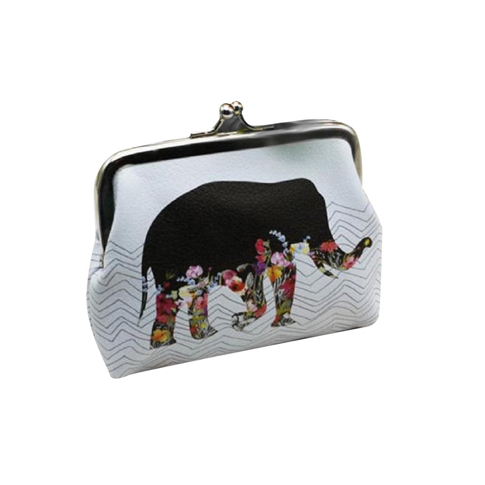 Wallets, Nicerokaka Womens Elephant Clasp Coin Case Card Purse White