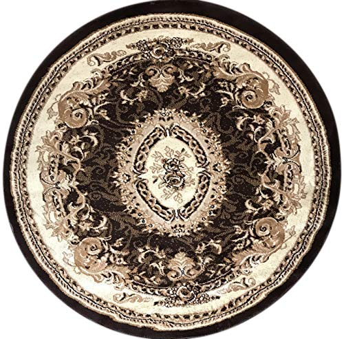 - Deir Debwan Traditional Round Oriental Aubusson Floral Area Rug Persian Brown Beige Ivory Design 602 (4 Feet X 4 Feet)