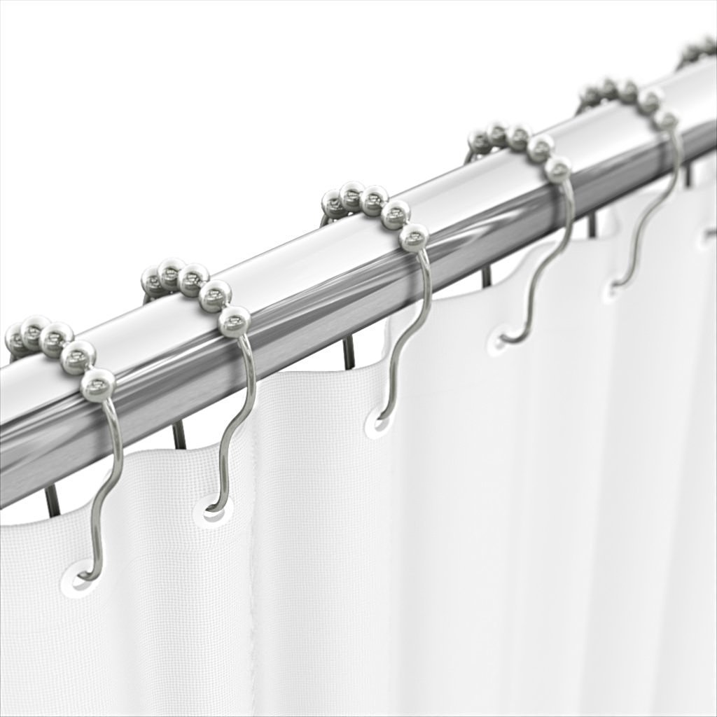 Fivanus Shower Curtain Rings Roller Hooks Rustproof Stainless Steel with Metal Balls For Bathroom Shower Rod, Set of 12 Piece, Chrome Finshed.