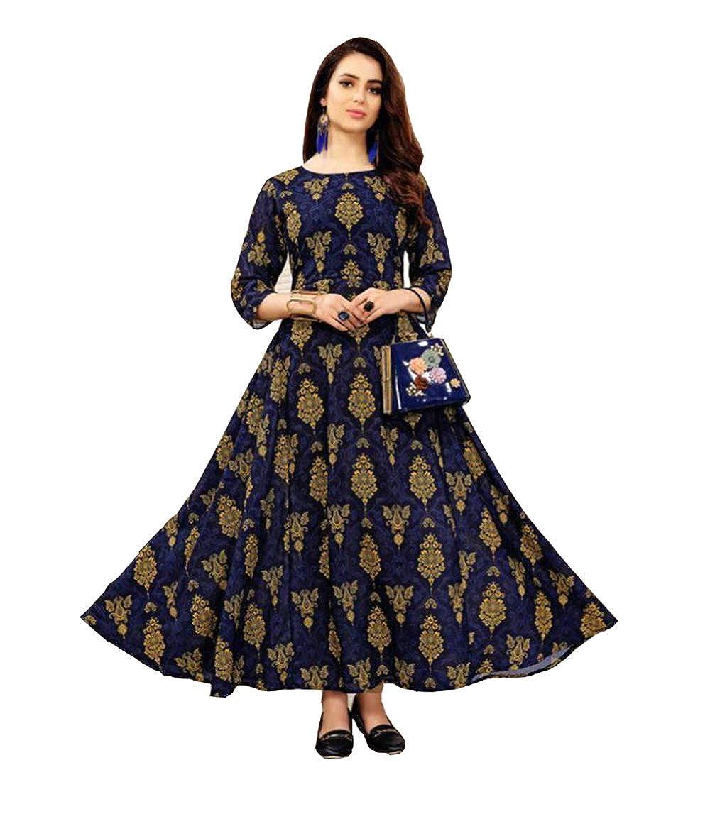 Manan Women's Mullti Colour 3/4Th Sleeve Coton Round Kurta Surat