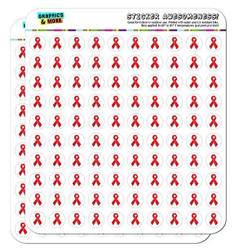 Red Awareness Ribbon Drug Free HIV AIDS 1/2