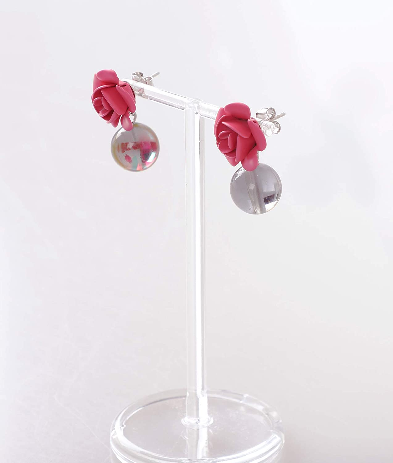 Handcraft Synthetic Quartz Brass Post Finish Comes with Gift Package//K-POP Korea Style Heavens Hailey Lovely Rose Drop/& Dangle Earrings Dazzling Moment