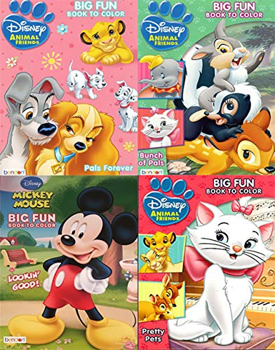 Disney and Animal Friends Big Fun Book to Color Includes 4 Books, Big Fun Book to Color Pals Forever, Bunch of Pals, Lookin Good!, and Pretty Pets.Multipack -