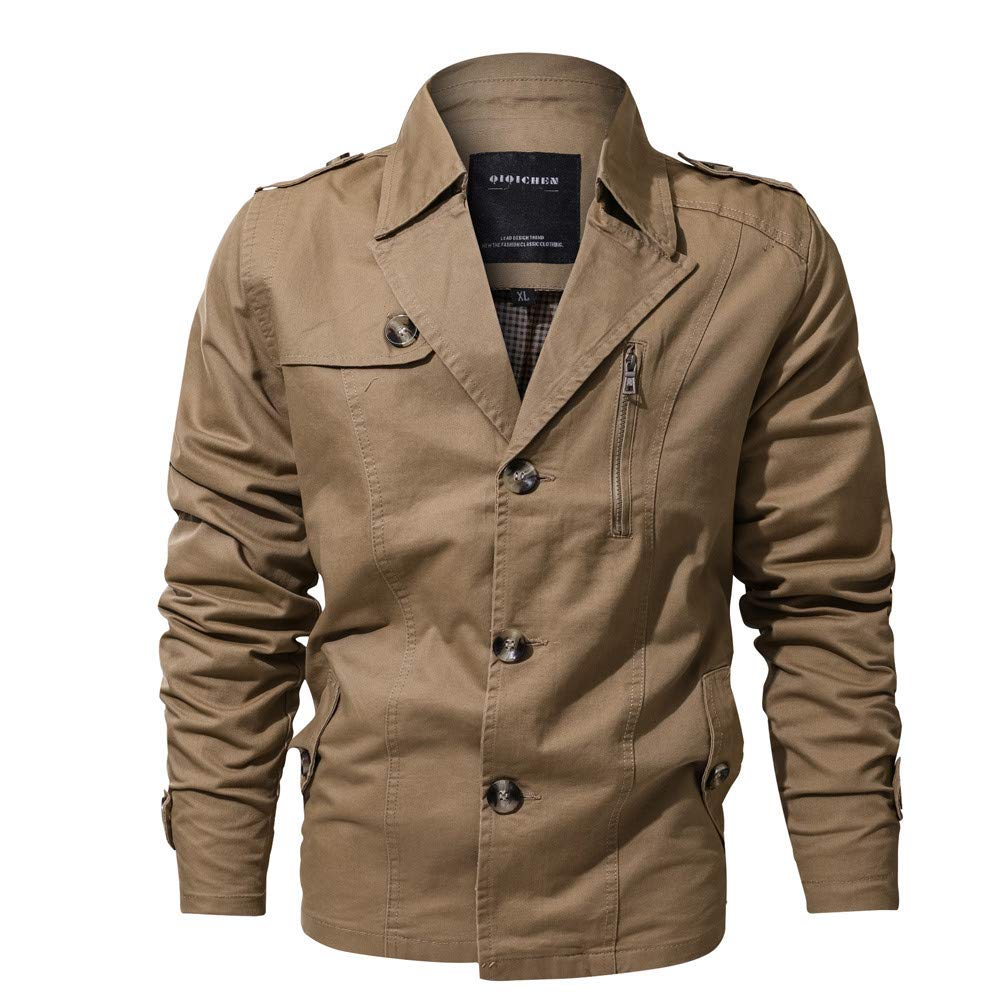 Clearance Forthery Men's Casual Military Jacket Button Down Outwear Coat(Khaki, US Size XL = Tag 2XL)