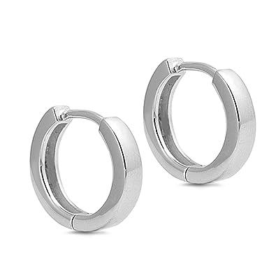 Elements Silver Plain Huggie Sterling Silver Earrings wV8OTmExP