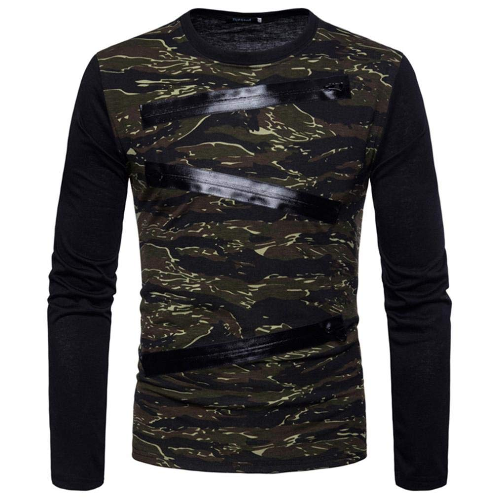 WUAI Men's Long Sleeve Active Personality Fashion Zipper Camouflage Casual Shirts (Army Green,US Size M = Tag L)