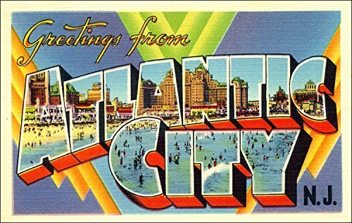 GHaynes Distributing Greetings From ATLANTIC CITY Sticker Decal (vintage NJ post card design) Size: 3 x 5 inch