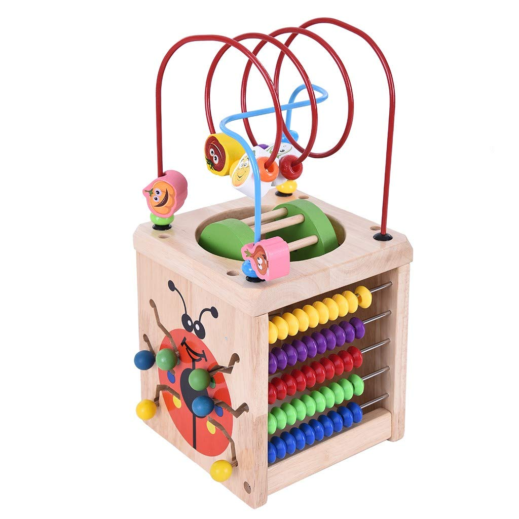 Lcyus Activity Cube Bead Maze Toy, Baby Multipurpose Educational Wood Shape Color Sorter Developmental Learning for Toddlers (Multicolor) by Lcyus
