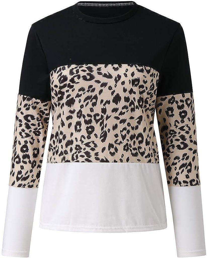 OTTATAT Casual Pullover for Women,2020 Autumn Winter Ladies Crewneck Stylish Leopard Print Patchwork Comfort Tops