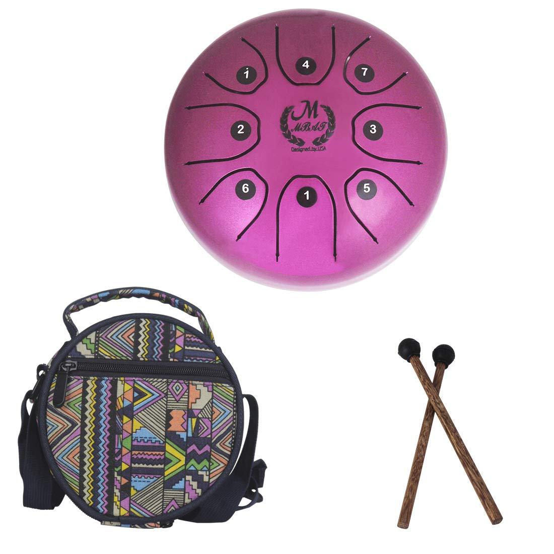 Tambour acier 5,5 pouces mini 8 tons T-C Instrument de percussion à percussion Main tambour avec baguettes de tambour Sac de transport Facile à jouer, instrument de musique, musicothérapie,Pink