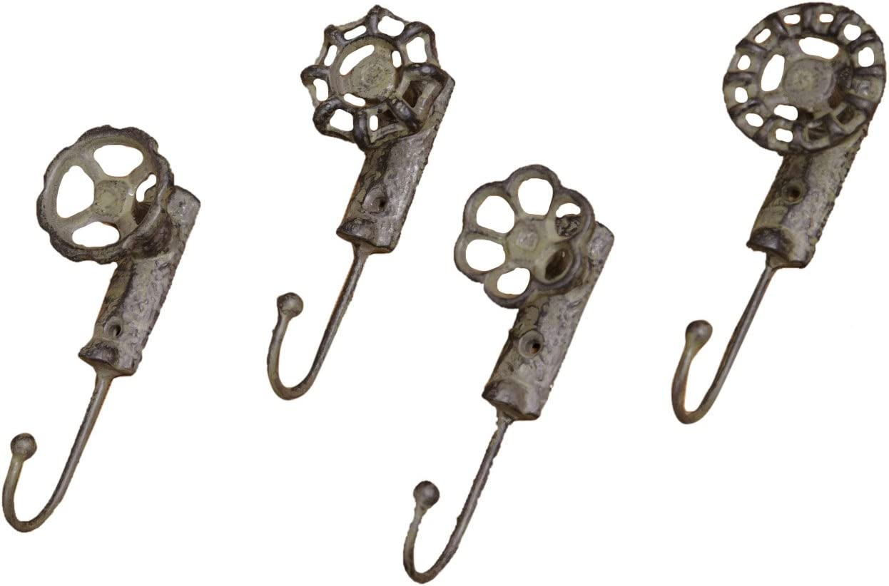 Your Heart's Delight Rustic Metal Garden Faucet Wall Hooks, 2 by 5-1/2-Inch