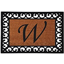 "Home & More 180041925W Inserted Doormat, 19"" X 25"" x 0.60"", Monogrammed Letter W, Natural/Black"