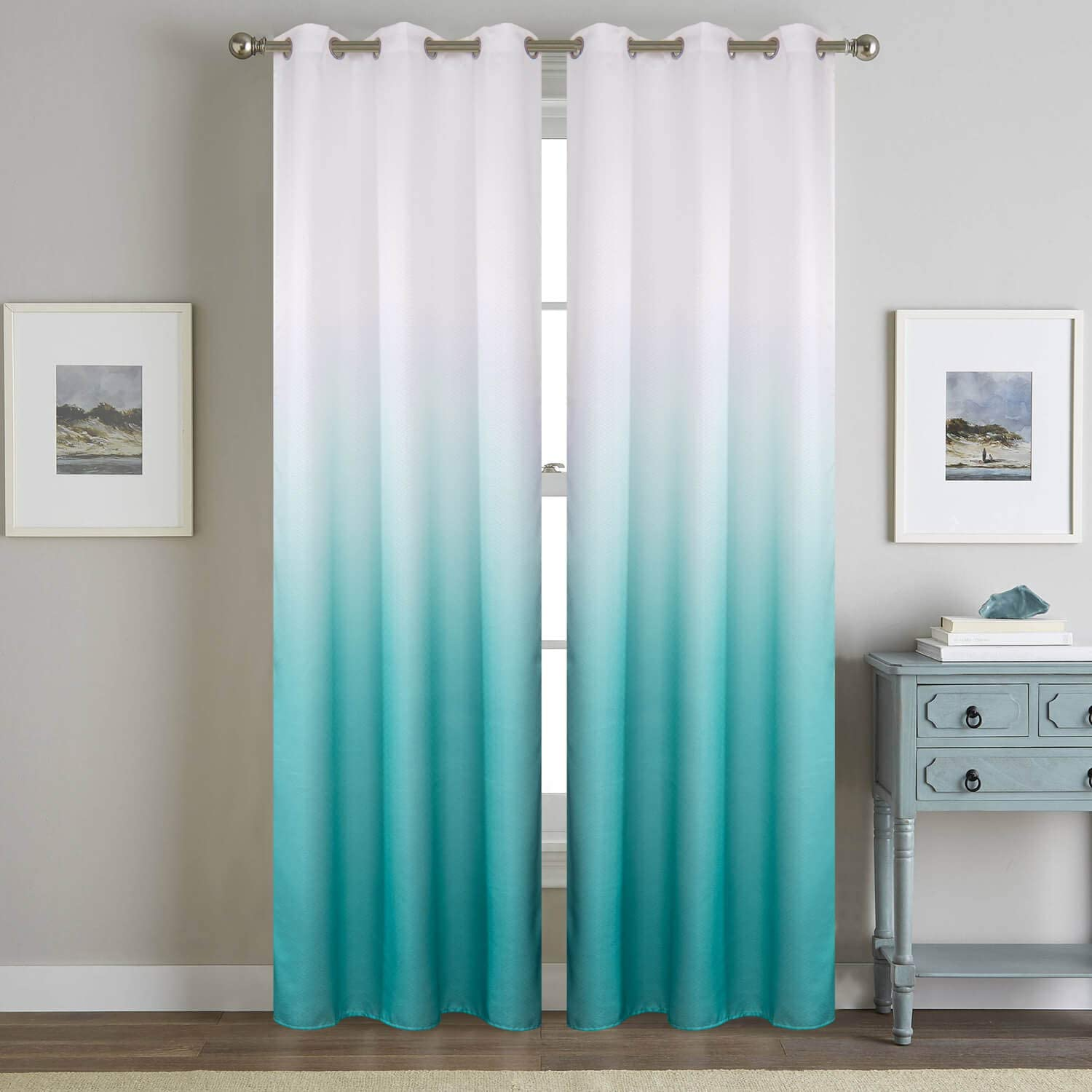 Teal Semi Blackout Curtains Set Of 2 Panels Thermal Insulated Grommet Turquoise Window Treatment Curtains 84 Inches Long Ombre Drapes For Kids Bedroom Living Room Light Blocking Amazon Co Uk Kitchen Home