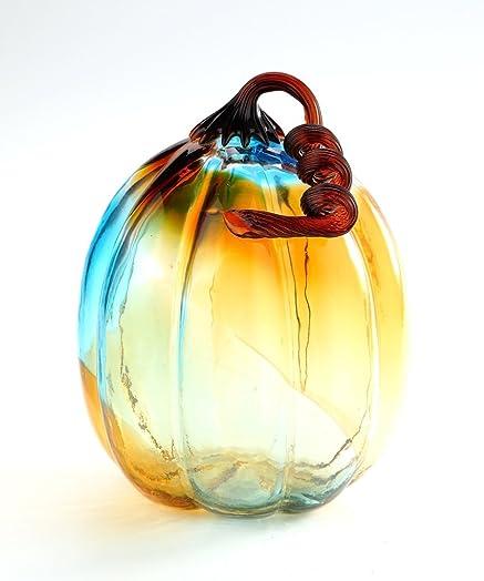 New 11 Hand Blown Art Glass Blue Amber Clear Pumpkin Sculpture Figurine Fall Harvest