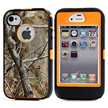 MOONCASE iPhone 4S Case, [Realtree Camo Series] 3 Layers Heavy Duty Defender Hybrid Soft TPU +PC Bumper Triple Shockproof Drop Resistance Protective Case Cover for Apple iPhone 4 4SS -Orange Tree