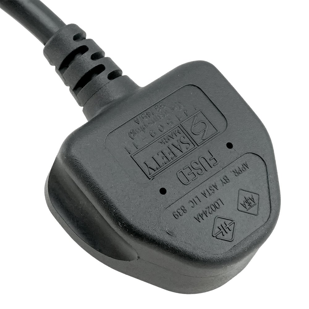 ACP1025 Heavy Duty BS1363 UK Plug to IEC C13 6 Foot Cord with ASTA and Many Other approvals and certifications 1.83M Uses The Thicker 1.0mm Wire for Added Electrical Robustness.