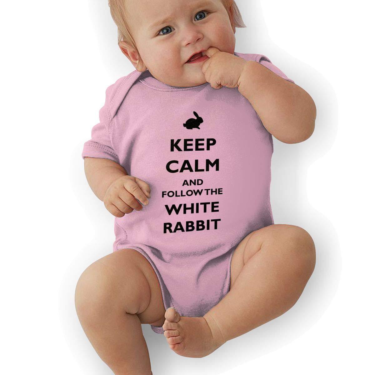 Toddler Baby Boys Bodysuit Short-Sleeve Onesie Keep Calm and Follow The White Rabbit Print Jumpsuit Summer Pajamas