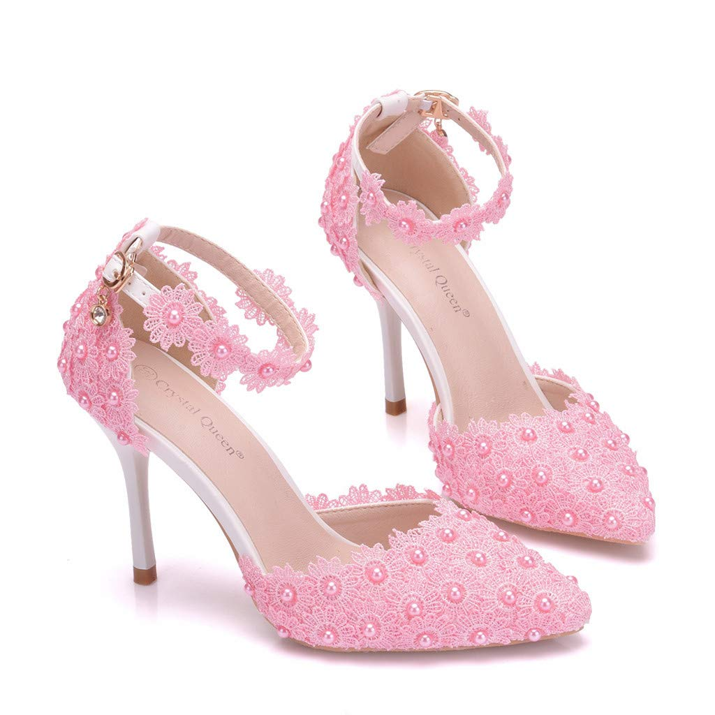 Women's Pink Pearl Floral High-Heel Ankle Strap Pumps - DeluxeAdultCostumes.com