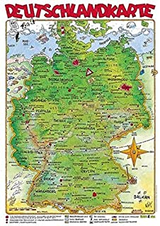 Illustrierte Deutschlandkarte zum Aufh/ängen mit Metall-Beleistung