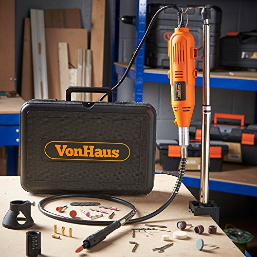 VonHaus Variable Speed Rotary Tool Kit with Stand, Storage Case and Flexi-shaft Including 34 Piece Multi-functional Accessory Tool Bits Set For Cutting, Sanding and Polishing by VonHaus (Image #1)