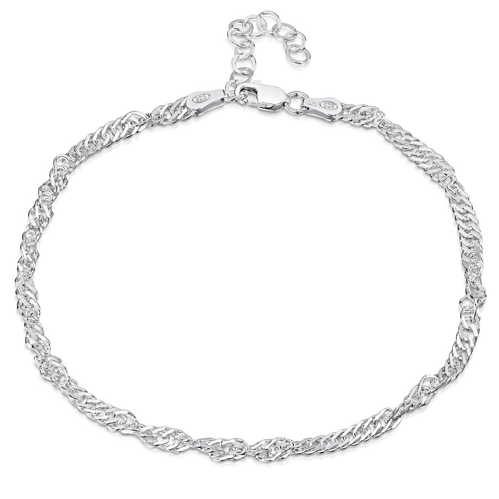 925 Fine Sterling Silver 3.6 mm Adjustable Anklet - Singapore/Prince of Wales Chain Ankle Bracelet - 9'' to 10'' inch - Flexible Fit