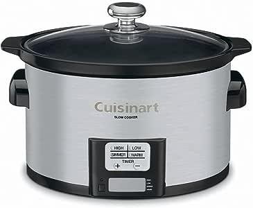 Cuisinart PSC-350 3-1/2-Quart Programmable Slow Cooker, Silver, 9-1/2 in H x 9.1 in W x 12.67 in L