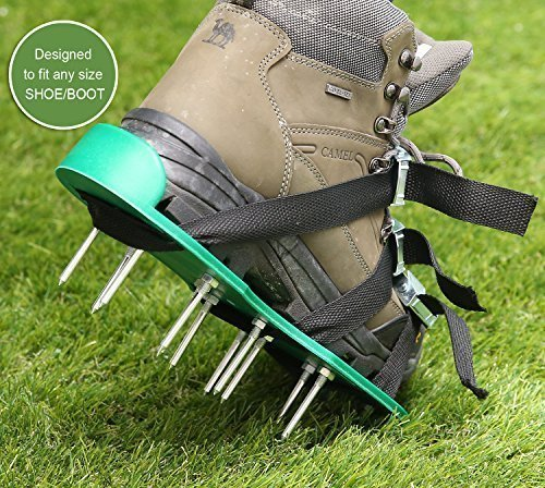 Ohuhu Lawn Aerator Spike Shoes, Aerating Lawn Soil Sandals with Metal Buckles and 3 Adjustable Straps, 440 Pound Capacity by Ohuhu