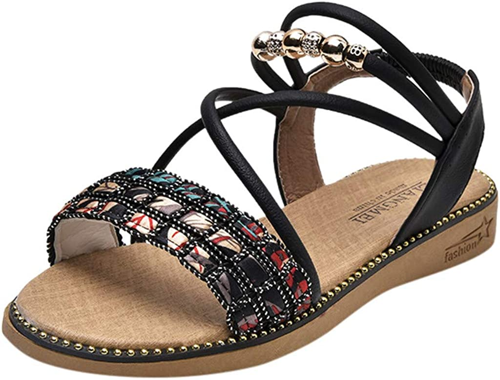 Vovotrade Womens Beach Wedges Sandals Fashion Casual Crystal Elastic Band Rome Shoes