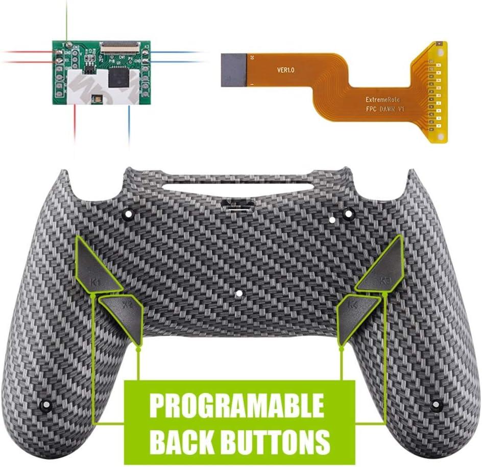eXtremeRate - Kit de reasignación programable Dawn de fibra de carbono negro plateado para controlador PS4 con chip Mod y carcasa trasera rediseñada y 4 botones posteriores - Compatible con JDM-040/050/055 - Controlador NO incluido