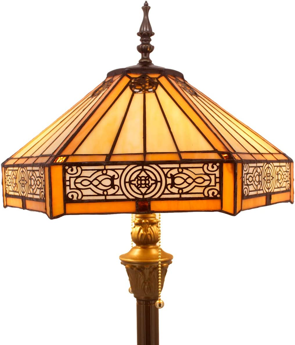 Tiffany Floor Lamp Yellow Hexagon Stained Glass Lampshade Mission Style Coffee Table Reading Lamps Antique Base Lighting W16 H64 Inch Living Room Bedroom Bookcase Bedside Desk S011 WERFACTORY