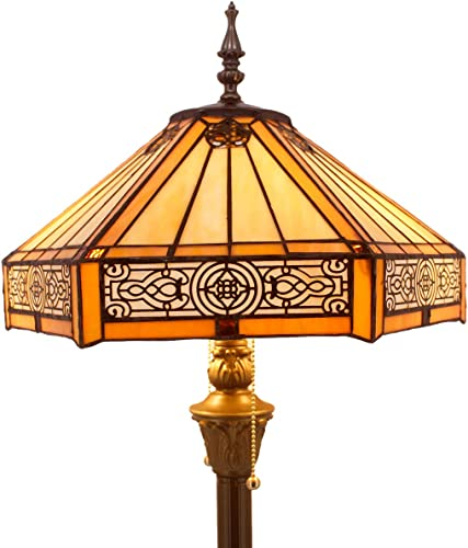 Tiffany Floor Lamp W16H64 Inch Yellow Stained Glass Hexagon Mission Style Shade Antique Standing Read Lighting Resin Base 2E26 S011 WERFACTORY LAMPS Lover Gift Bedroom Living Room Bedside Coffee Table