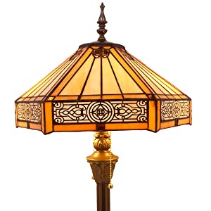 Tiffany Floor Lamp Yellow Hexagon Stained Glass Lampshade Coffee Table Reading Lamps Antique Style Base Lighting W16 H64 Inch Living Room Bedroom Bookcase Dresser Bedside Desk S011 WERFACTORY