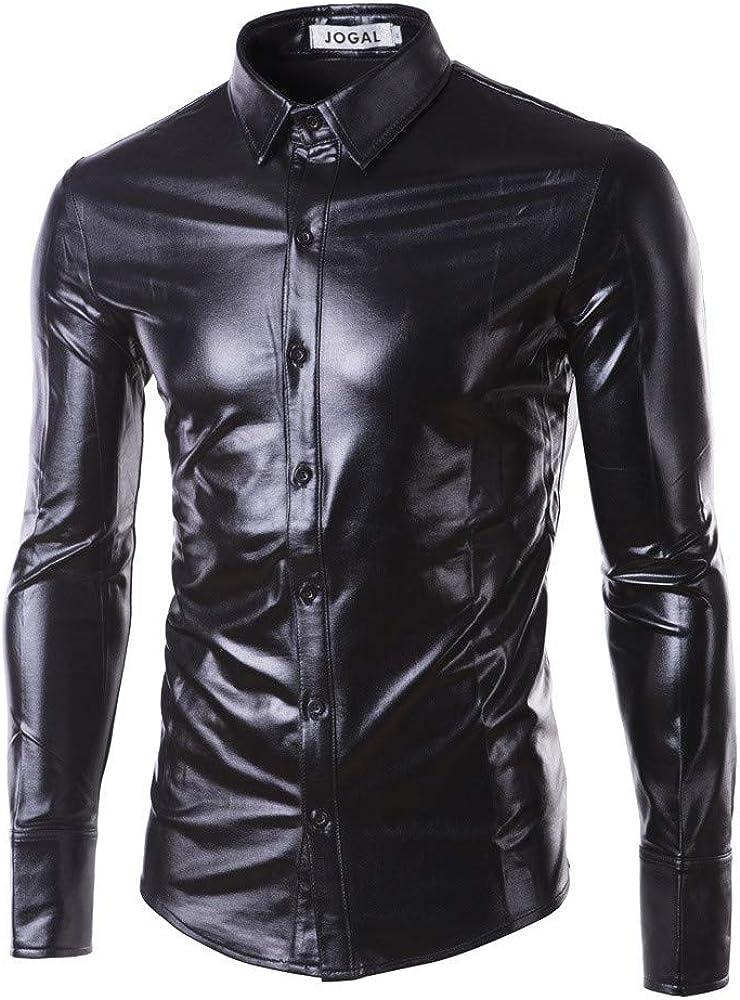 Uomo Nuovo Dipinto Camicie Longsleeve Luminoso Superficie Rivestimento Moda Shirt
