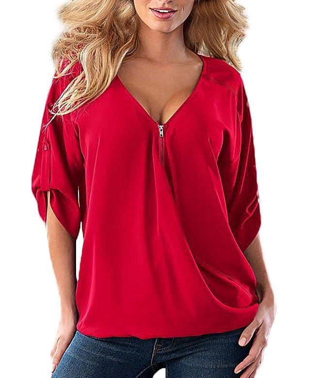 Camisetas Mujer Verano Basicas Elegantes Media Manga V Cuello Sencillos Unicolor Suelto Hippie Fashion Casual Gasa T-Shirt Camisas Blusa Tops: Amazon.es: ...