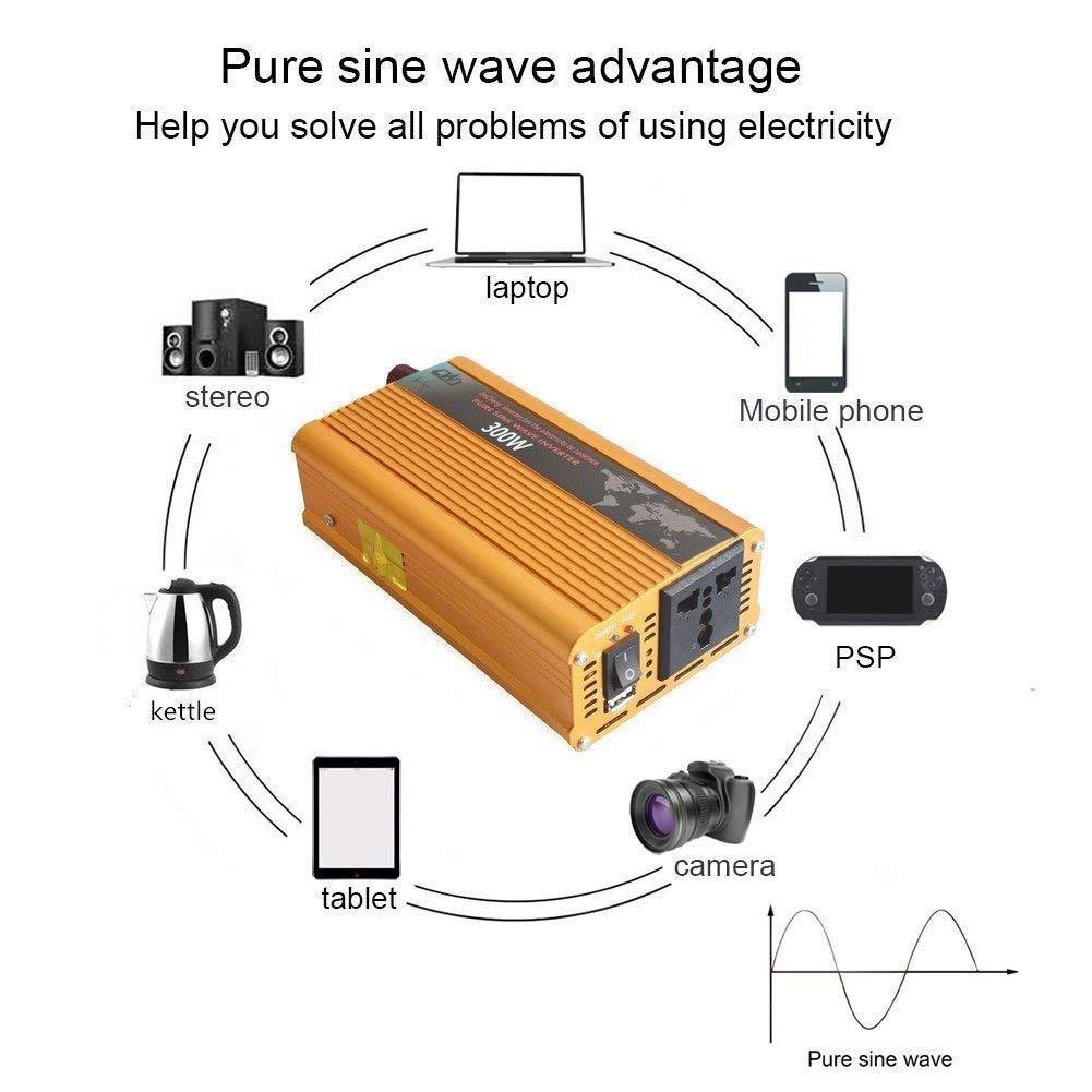 Tellunow Inversor De Corriente 300W Pico 600W, Onda Sinusoidal Convertidor 12v 220v para Coche con 1 Puertos USB Y 1 Toma 12V A 220V, Adaprador De ...