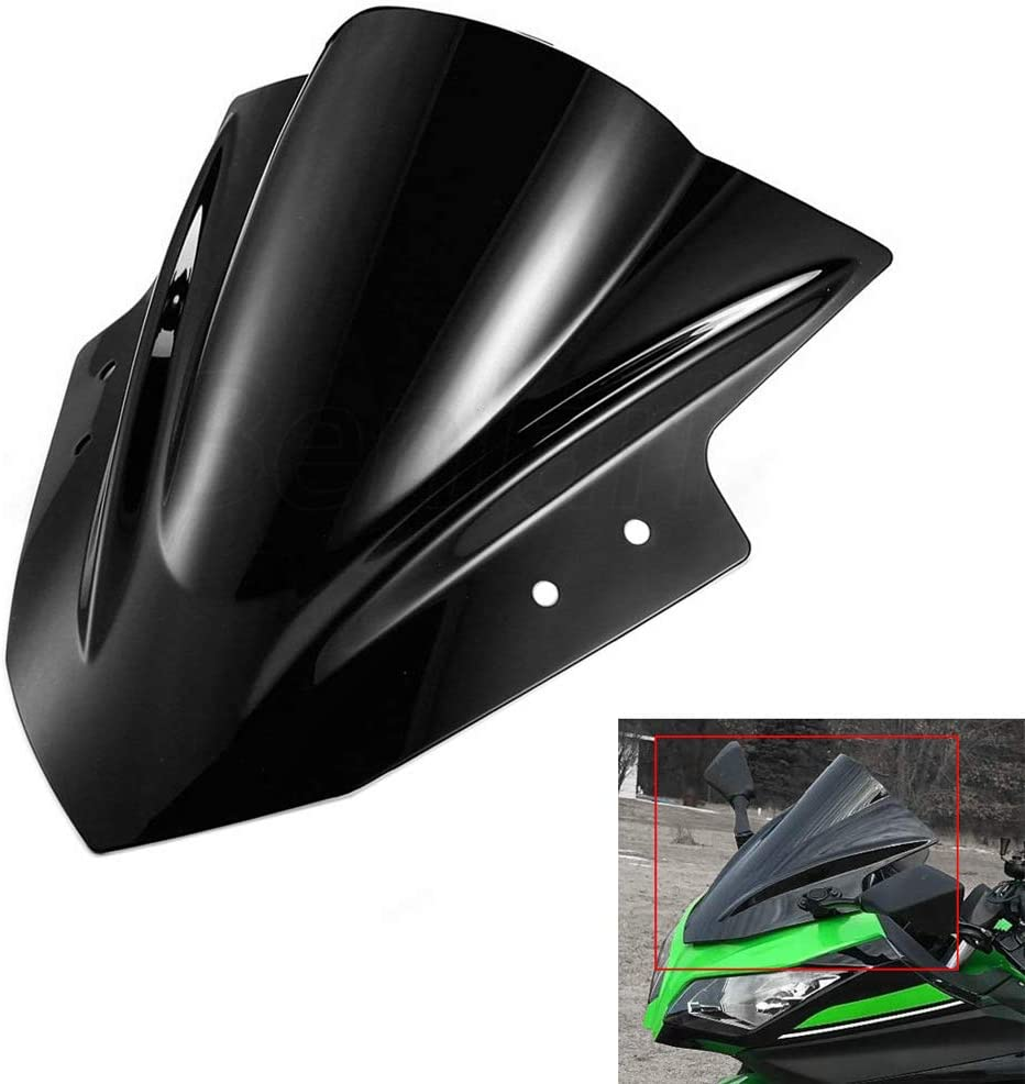 Benlari Black Windshield Windscreen Double Bubble for Kawasaki Ninja 300 EX300 2013 2014 2015 2016 2017