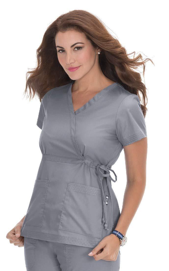 KOI 137 Women's Katelyn Top (Platinum Grey, X-Large)