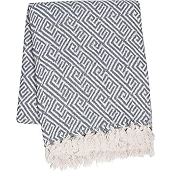 """SLPR 100% Cotton Indoor/Outdoor Machine Washable Throw (50"""" x 60"""", Light Grey)   for Beaches BBQ Picnic Everyday Use"""
