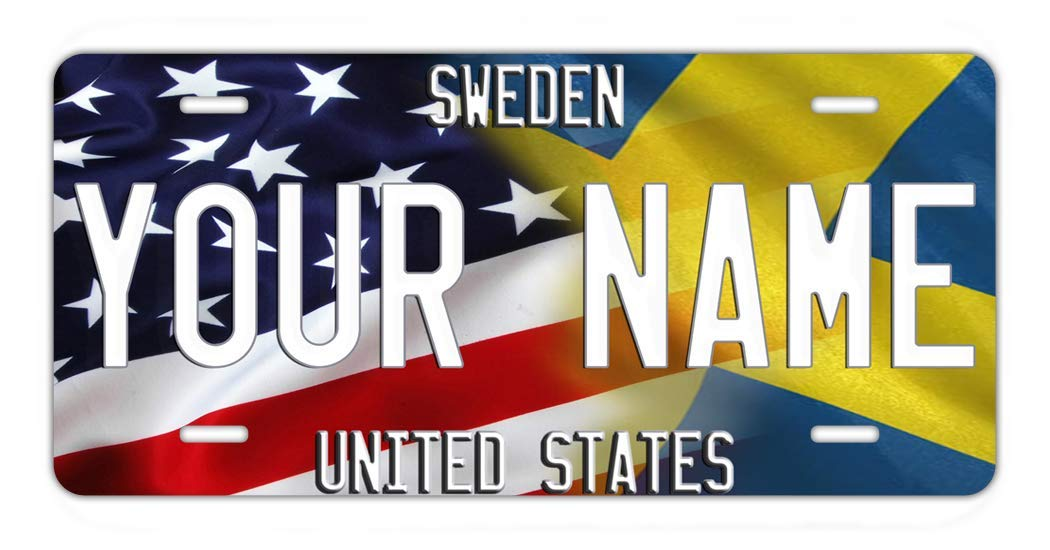 BRGiftShop Personalize Your Own Mixed USA and Sweden Flag Car Vehicle 6x12 License Plate Auto Tag