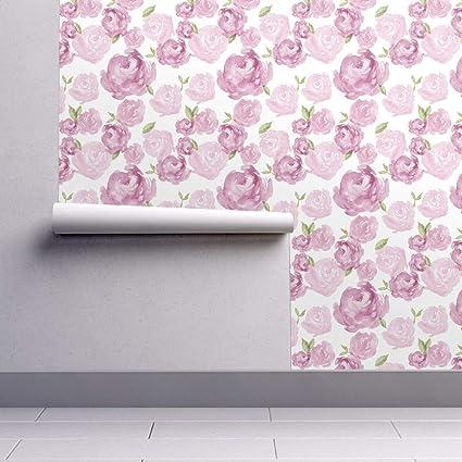 Plum Wallpaper Sample Swatch Purple Watercolor Wildflower